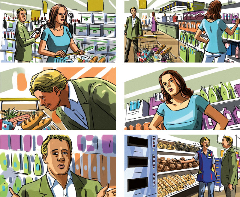 Marco Schaaf storyboard for Lidl